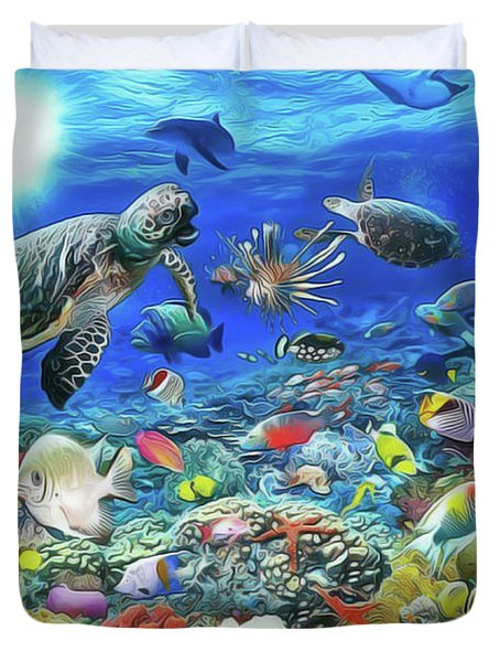 Duvet Cover featuring the painting Aquarium by Harry Warrick