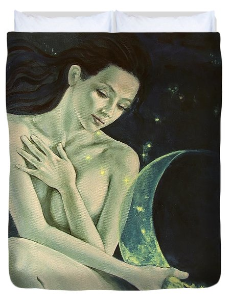 Aquarius From  Zodiac Signs Series Duvet Cover by Dorina  Costras