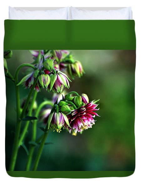 Duvet Cover featuring the photograph Aquilegia In Red And White by Kathleen Stephens