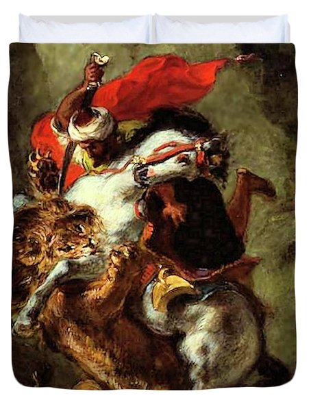 Duvet Cover featuring the painting Arab Horseman Attacked By A Lion by Eugene Delacroix