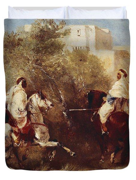 Arab Horsemen Duvet Cover by Eugene Fromentin