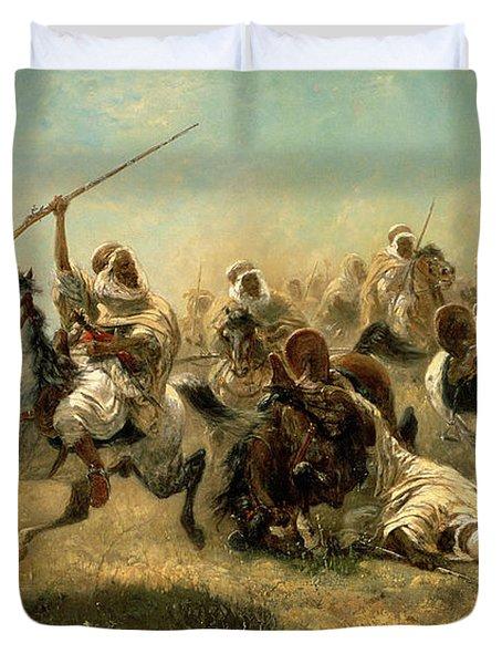 Arab Horsemen On The Attack Duvet Cover by Adolf Schreyer