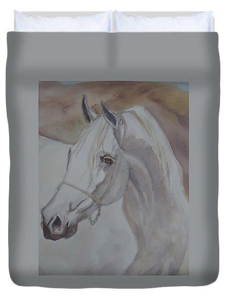 Arab Stallion In The Desert Duvet Cover