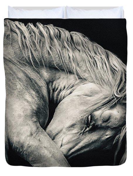 Arabian Beauty White Horse Portrait Duvet Cover