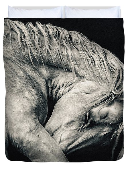 Arabian Beauty White Horse Portrait Duvet Cover