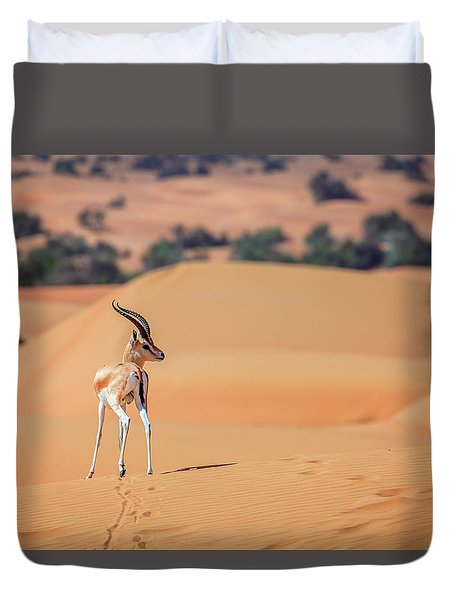 Duvet Cover featuring the photograph Arabian Gazelle by Alexey Stiop