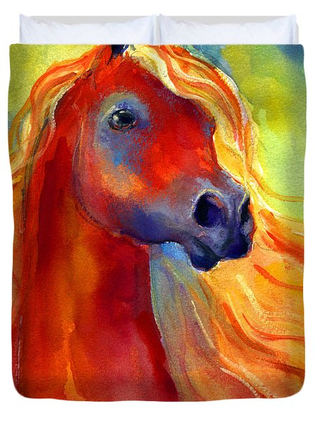 Arabian Horse 5 Painting Duvet Cover by Svetlana Novikova