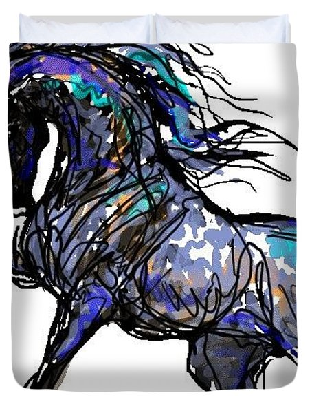 Arabian In Blue Duvet Cover by Stacey Mayer