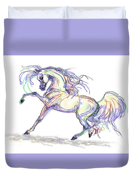 Arabian Stallion Talk Duvet Cover by Stacey Mayer
