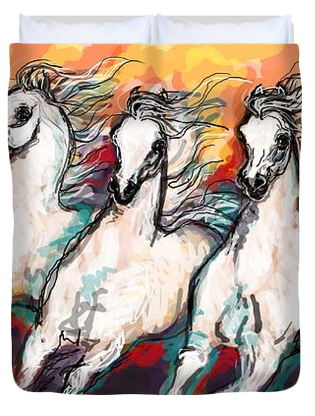 Arabian Sunset Horses Duvet Cover by Stacey Mayer