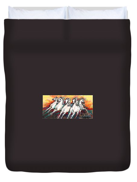 Duvet Cover featuring the digital art Arabian Sunset Horses by Stacey Mayer
