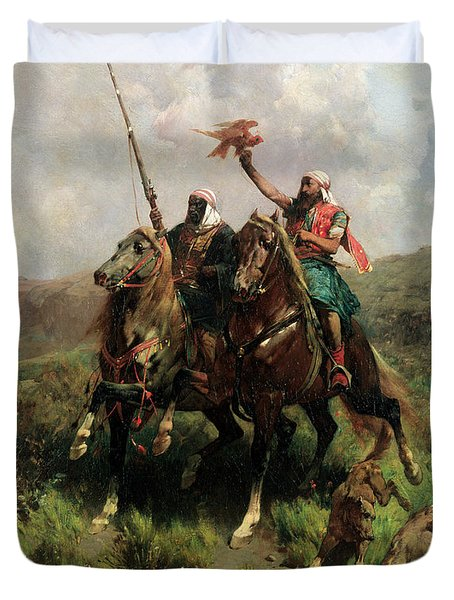 Arabs With A Falcon Duvet Cover by Alberto Pasini