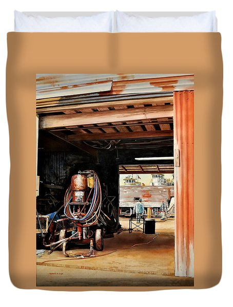 Aransas Pass Boatyard Duvet Cover