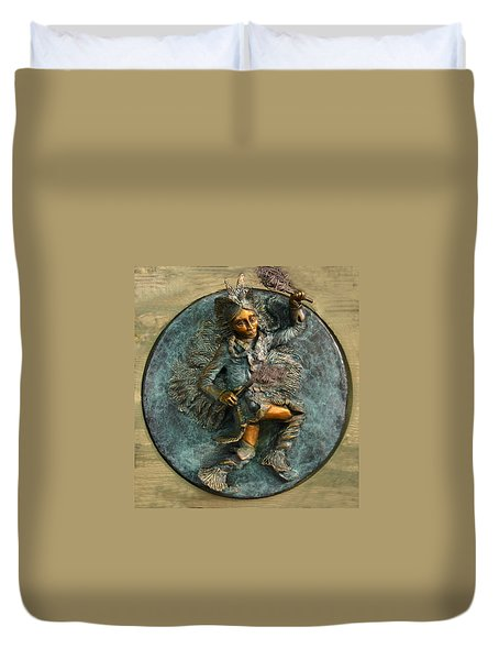 Duvet Cover featuring the relief Arapaho Dancer From Snowy Range Life  by Dawn Senior-Trask