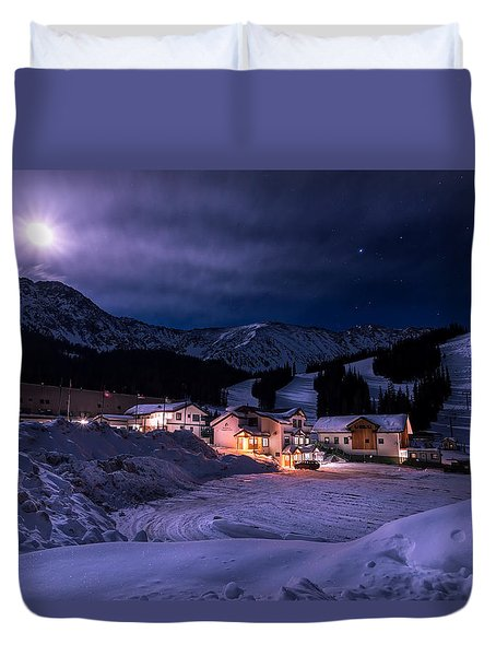 Arapahoe Basin Full Moon Night Duvet Cover