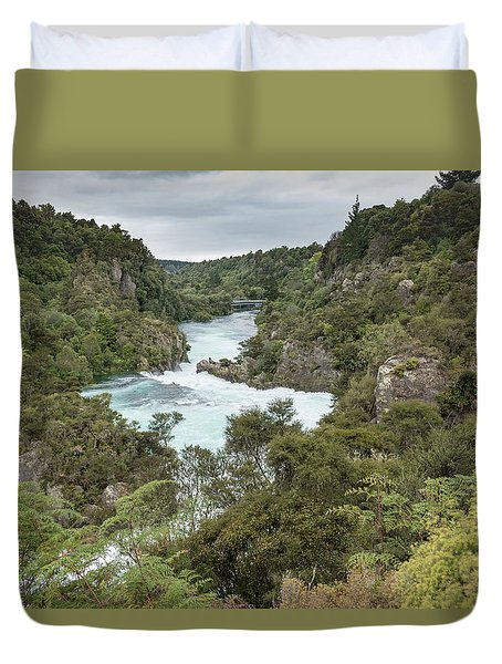 Duvet Cover featuring the photograph Aratiatia Rapids by Gary Eason