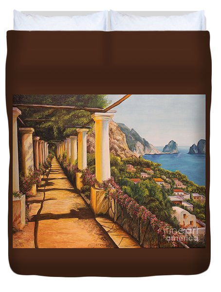 Arbor Walk In Capri Duvet Cover by Charlotte Blanchard