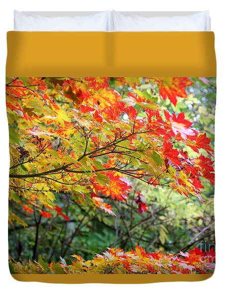 Duvet Cover featuring the photograph Arboretum Autumn Leaves by Peter Simmons