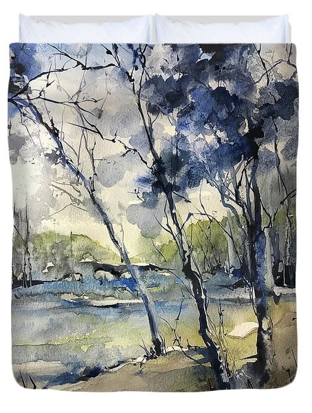 Arbres Bleus Duvet Cover by Robin Miller-Bookhout