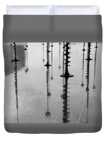 Arbres Lumineux In The Rain Paris  Duvet Cover