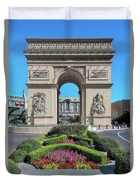 Arc De Triomphe Paris Casino Las Vegas Duvet Cover