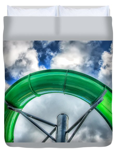Duvet Cover featuring the photograph Arc Of The Water Slide by Gary Slawsky