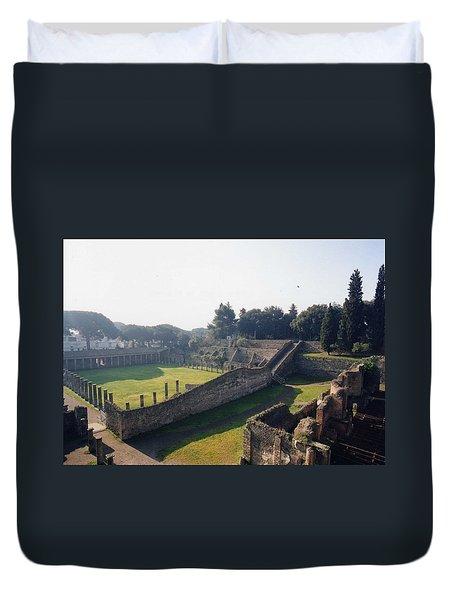 Duvet Cover featuring the photograph Arcaded Court Of The Gladiators Pompeii by Marna Edwards Flavell