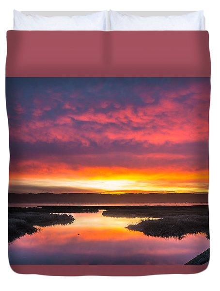 Arcata Bay Fire Sunrise Duvet Cover by Greg Nyquist