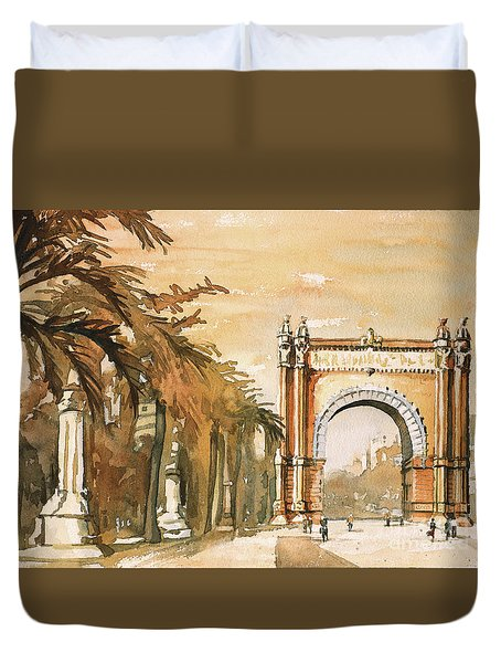Duvet Cover featuring the painting Arch- Barcelona, Spain by Ryan Fox
