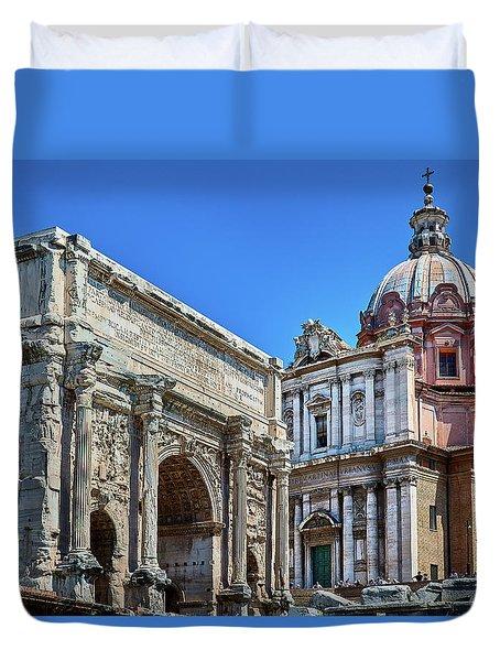 Duvet Cover featuring the photograph Arch Of Septimius Severus At The Roman Forum by Eduardo Jose Accorinti