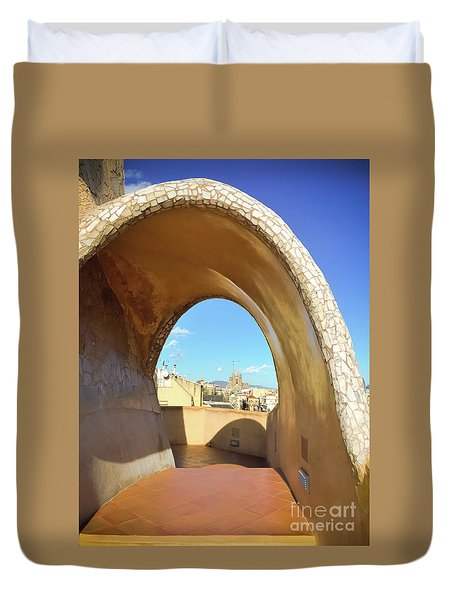 Duvet Cover featuring the photograph Arch On The Rooftop Of The Casa Mila by Colleen Kammerer