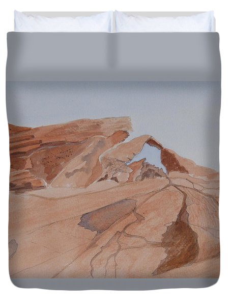 Arch Rock - A Watercolor Sketch Duvet Cover by Joel Deutsch
