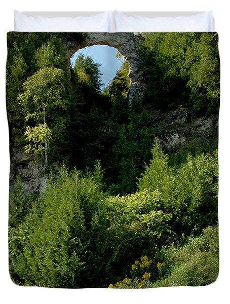 Duvet Cover featuring the photograph Arch Rock Mackinac Island by LeeAnn McLaneGoetz McLaneGoetzStudioLLCcom