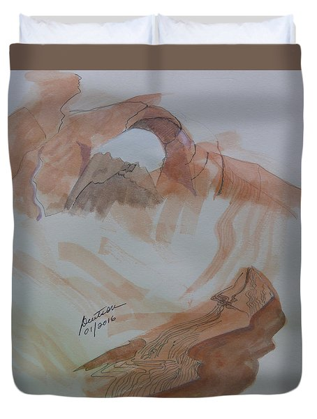 Duvet Cover featuring the painting Arch Rock - Sketchbook Doodle by Joel Deutsch