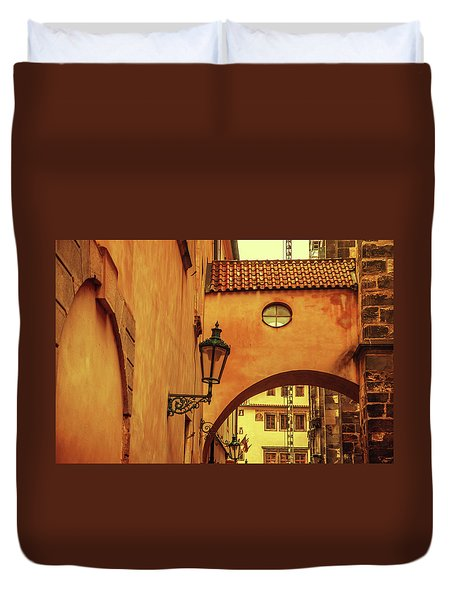 Duvet Cover featuring the photograph Arch Way In Old Town. Series Golden Prague by Jenny Rainbow
