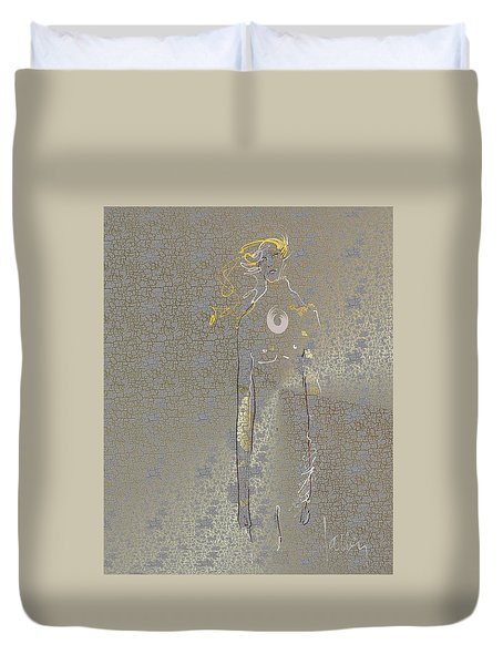 Duvet Cover featuring the mixed media Archangel Barachiel  by Larry Talley
