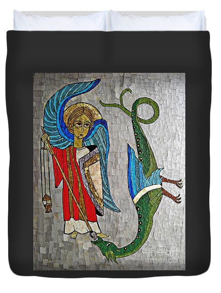 Archangel Michael And The Dragon    Duvet Cover