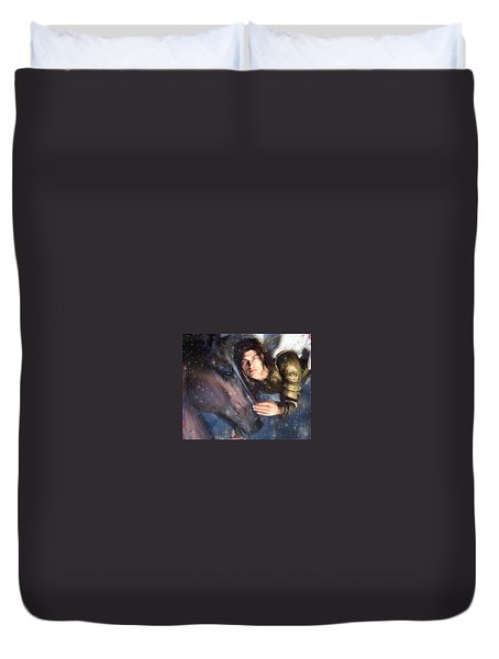 Duvet Cover featuring the painting Archangel Michael by Suzanne Silvir