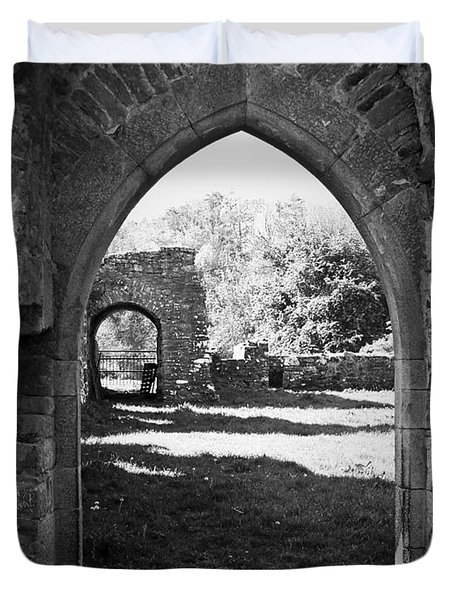 Arched Door At Ballybeg Priory In Buttevant Ireland Duvet Cover by Teresa Mucha