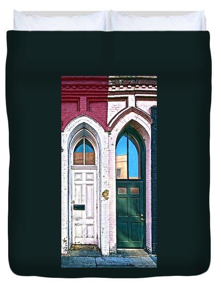 Door One And Door Too Duvet Cover