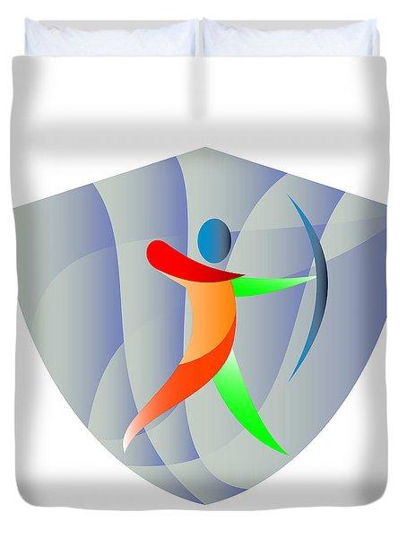 Archer Archery Crest Retro Duvet Cover
