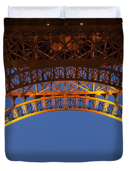 Duvet Cover featuring the photograph Arches Of The Eiffel Tower by Andrew Soundarajan