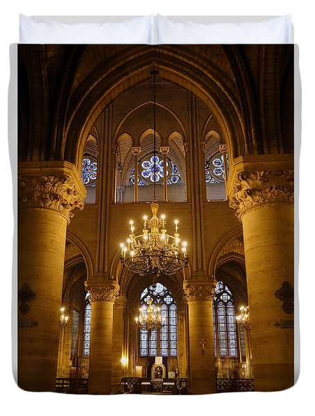 Architectural Artwork Within Notre Dame In Paris France Duvet Cover