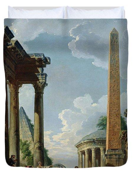 Architectural Capriccio With A Preacher In The Ruins Duvet Cover by Giovanni Paolo Pannini or Panini