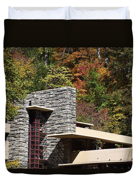 Architectural Detail Of Fallingwater -  Frank Lloyd Wright Duvet Cover