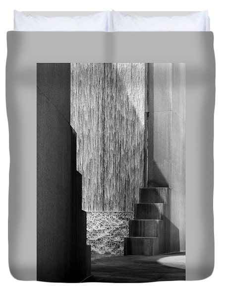 Architectural Waterfall In Black And White Duvet Cover
