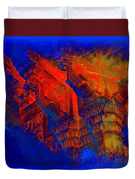 Architecture Detail  Amber Fort Palace India Rajasthan Jaipur Abstract Square 1a Duvet Cover