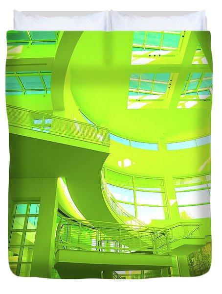 Green Splash Architecture Duvet Cover