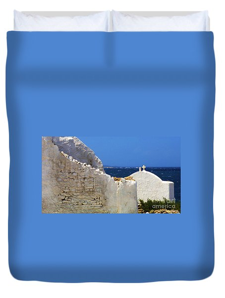 Duvet Cover featuring the photograph Architecture Mykonos Greece 2 by Bob Christopher