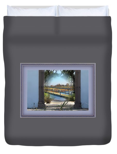 Archway To Wooden Bridge Montage Duvet Cover